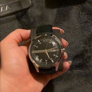 Armani Exchange men's leather watch